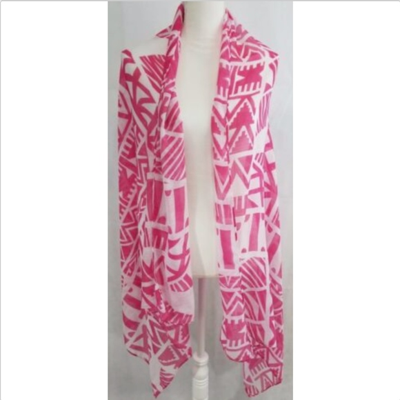 Accessories - Women's rectangle wrap scarf pink white print
